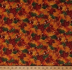 Cotton Autumn Leaves Maple Leaf Oak Leaf Fall Autumnal Nature Landscape Gold Metallic Shimmer Cotton Fabric Print by the Yard (CM4894)