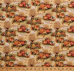 Cotton Harvest Pumpkins Wheat Harvest Blessings Fall Autumn Thanksgiving Autumnal Cotton Fabric Print by the Yard (66706-A620715)