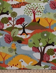 Cotton Neco Hide & Seek Animals Parrots Dog Turtle Rabbit Trees Cotton Fabric Print by the Yard 16130-11