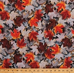 Cotton Autumn Leaves Maple Leaf Rust Brown Orange Leaves Frosted Fall Autumnal Cotton Fabric Print by the Yard (N7537-39-RUST)