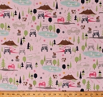 Cotton Camping Jeeps® Mountains Trees Stars Squirrels Foxes Pond Ducks Birds Outdoor Wildlife Landscape Nature Vacation Roadtrip Vehicles Transportation Scenic Pink J is for Jeep® Cotton Fabric Print by the Yard (C6460-Pink)