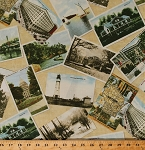 Cotton Wisconsin Postcards State Landmarks Sightseeing Tourists Travel Destinations United States America USA American Travel Quilt Wisconsin 2014 Cotton Fabric Print by the Yard (37061)