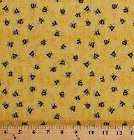 Cotton Bees Bumblebees Insects Bugs on Yellow A Gardening We Grow Cotton Fabric Print by the Yard (1649-26501-S)