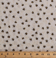 Cotton Bees Bumblebees Insects Bugs on Cream A Gardening We Grow Cotton Fabric Print by the Yard (1649-26501-E)
