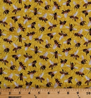 Cotton Bees Honeybees Insects Bugs Frolicking Field Yellow Cotton Fabric Print by the Yard (120-15511)