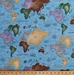 Cotton World Maps North South America Asia Africa Europe Australia Atlantic Pacific Oceans Seas Continents Compass Cruise Ships Ocean Liners World Travel Explorer Nautical Cotton Fabric Print by the Yard (8313-016-LTBLUE)