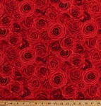 Cotton Red Roses Flowers Floral Full Blown Roses Blooms Blossoms Valentine's Day Garden Gardener Gardening Botanical Glamour Cotton Fabric Print by the Yard (c5046-red)