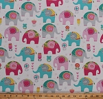 Cotton Elephants Flowers Hearts Animals Kids Girls Pink Aqua on White Cotton Fabric Print by the Yard (FUN-C6108-CREAM)