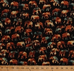 Cotton Elephants African Animals Wildlife Nature Caravan Black Cotton Fabric Print by the Yard (1649-26184-J)