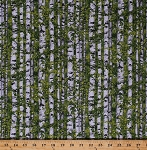 Cotton Landscape Birch Trees Leaves Branches Woods Forest Nature Abundant Garden Green Cotton Fabric Print by the Yard (21844-74green)