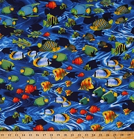 Cotton Tropical Fish Ocean Sea Animals Water Life's a Beach Blue Cotton Fabric Print by the Yard (08441-55)