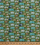 Cotton Campers Camping Trailers Caravans Road Trip Tents Tenting Vacation Tepee Trees Roads Retro Travel Green Cotton Fabric Print by the Yard (C5622-GREEN)