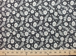 Cotton Feedsack II Cream Flowers Floral & Dots on Black Cotton Fabric Print by the Yard (7473-13)	D566.15