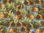 Log Cabins on Loon Lake Cabin Outdoor Life Cotton Fabric Print By the Yard D566.27