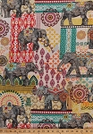 Cotton Elephants Elephant Floral Flowers Middle Eastern Asian Orient Animals Pachyderm Ruth Cotton Fabric Print by the Yard (C4711)