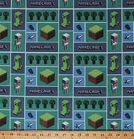Cotton Minecraft Logo Squares Kids Video Games Minecraft Mosaic Green Blue Cotton Fabric Print by the Yard (65994-A620715)