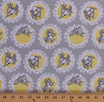 Cotton Thumper Bambi Characters Rabbits Bunny Bunnies Animals Disney Movies Flowers Floral Yellow Circles Kids Children's Gray Cotton Fabric Print by the Yard (85040103-03)