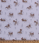 Cotton Bambi Toile Deer Fawn Animals Disney Movies Cartoon Characters Butterfly Flowers Kids Children's White Cotton Fabric Print by the Yard (85040101-03)