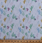 Cotton Cactus Cacti Desert Plants Saguaro Prickly Pear Southwestern Southwest Mist Cotton Fabric Print by the Yard (STELLA-759-MIST)