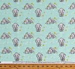 Cotton Dumbo Baby Elephants Sleeping Stars Disney Sweet Dreams Mint Kids Cotton Fabric Print by the Yard (CP57830)