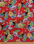 Cotton Flamingos Flamingo Toucan Parrots Hibiscus Flowers Floral Birds Tropics Summer Tropical Ocean Ave Cotton Fabric Print by the Yard (05934-10)