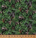 Cotton Sloths Animals Wildlife Scenic Trees Nature Jungle Cotton Fabric Print by the Yard (551GREEN)