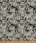 Money Dollar Bills Bill 20s and 100s Cash Currency Benjamin Franklin Andrew Jackson Limited Edition Green Cotton Fabric Print by the Yard (CP38149)