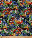 Cotton Ark for Birds Bird on Tree Branches Packed Avian Aviary Colorful Birdie Green Red Orange Blue Cotton Fabric Print by the Yard (J7007-multi)