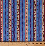 Cotton Dutch Middleburg Floral Stripe Stripes Flowers Vines Leaf Leaves Buds Middleburg Netherlands Holland Blue Purple Red Striped Cotton Fabric Print by the Yard (1649-22269-B)