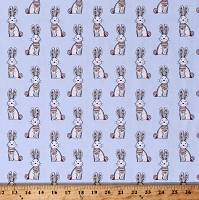 Cotton Bunnies Bunny Rabbits Cute Animals Woodland Tribe Blue Cotton Fabric Print by the Yard (13772-BLUE)