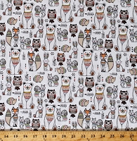 Cotton Cute Animals Bears Foxes Squirrels Hedgehogs Rabbits Bunnies Owls Woodland Tribe White Cotton Fabric Print by the Yard (13770-WHITE)