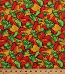 Cotton Peppers Bell Banana Pepper Kitchen Cooking Food Culinary Vegetables Veggies Farmer's Market Garden Gardening Cotton Fabric Print by the Yard (31628-573)