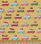 Cotton Beachy Keen Cars Vans Camping Vacation Summertime Yellow Cotton Fabric Print by the Yard (ACY-15896-5-YELLOW)