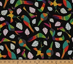 Cotton Rio Toucan Birds Leaves Cotton Fabric Print By the Yard 8210-K