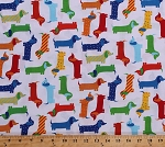 Cotton Dogs Dachshunds Puppy Puppies Pets Animals Red Blue Orange Green Yellow Dogs on White Urban Zoologie Multi-Colored Striped Polka Dots Kids Cotton Fabric Print by the Yard (aak-15736-204-primary)