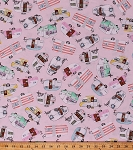 Cotton Vintage Campers Trailers Caravans Camping Vacation Pink Cotton Fabric Print by the Yard (C5392)