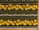 Cotton Lemons Bunches of Lemon Citrus Fruit Citrus Grove Leaves Flowers Floral Garden Food Kitchen Black Yellow (8 Parallel Stripes) Striped Cotton Fabric Print by the Yard (FRUIT-C4858-BLACK)
