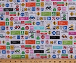 Cotton Travel Road Traffic Signs Cars Summer Vacation Road Trip Route 66 Highway Driving Rest Stops Vehicles Transportation Are We There Yet? Barbara Jones Cotton Fabric Print by the Yard (6771-06)