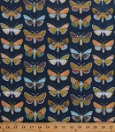 Cotton Moths Insects Bugs Butterflies Butterfly Blue Harmony Cotton Fabric Print by the Yard (111-106-03)