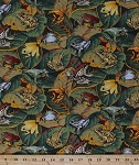 Cotton Frogs Allover Frog Bullfrogs on Leaves Amphibian Animal Toads Jungle Tropical Botanical Green Cotton Fabric Print by the Yard (cp38162)