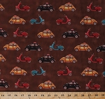 Cotton Cars Taxi Cab Scooters Moped Beetle Bug Vehicles Travel Transportation Brown Cotton Fabric Print by the Yard (7313-38)