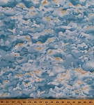 Cotton Clouds Sky Landscape Cloudy Blue Sunshine Wingman Cotton Fabric Print by Yard (1649-23614-B)