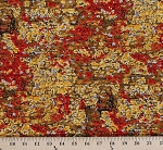Cotton Lichen Landscape Tree Bark Moss Red Gold Brown Cotton Fabric Print by the Yard (2162P-2N)