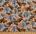 Cotton African Animals Elephants Giraffes Hippos Zebras Tigers Cheetahs Safari Wildlife Zoo Nature Animals Out of Africa Cotton Fabric Print by the Yard (1649-24834-e)