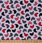 Cotton Chickens Chicks Hens Poultry Barnyard Birds Farm Farming Animals Kitchen Red Gray Black Urban Zoologie Cotton Fabric Print by the Yard (AAK-14720-3-RED)