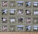 Cotton An English Farmyard Animals Patches Cotton Fabric Print by the Yard FR184-05
