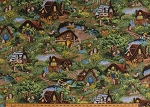 Cotton Hedgehog Village Cute Hedgehogs Houses Cottages Animals Scenic Kids Cotton Fabric Print by the Yard (120-13721)