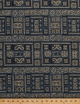 Cotton Hoffman Challenge 2015 Mandalay Squares Blocks Scrolls Metallic Shimmer Indigo Gold Persian Cotton Fabric Print by the Yard (m7408-68.9)