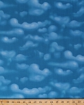 Cotton Billowy Clouds Cloudy Blue Sky Skies Landscape Scenic Nature Cotton Fabric Print by the Yard (K4138)