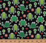 Cotton Frogs Hearts Flowers Cotton Fabric Print by the Yard Frog-4109 Black